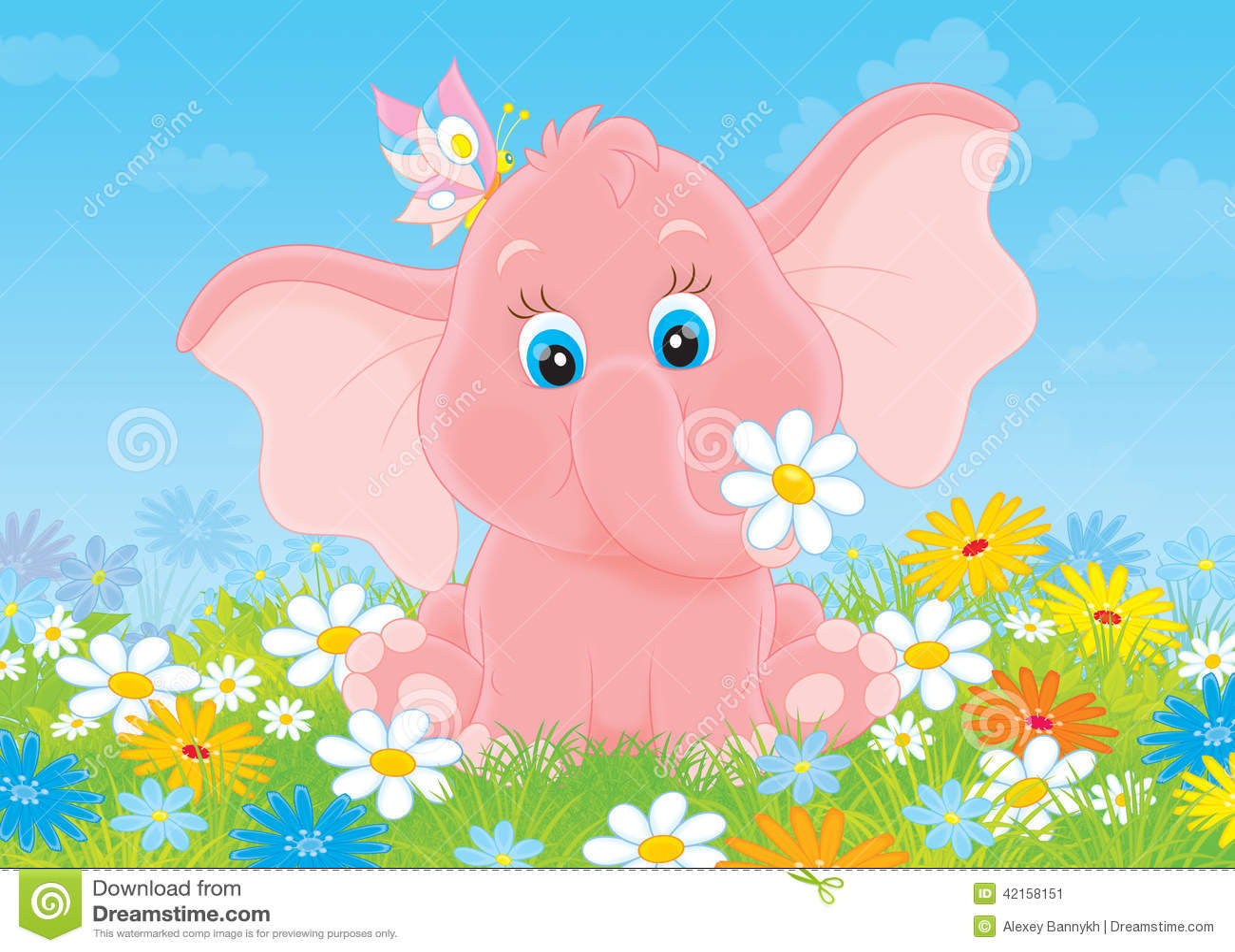 Фото слоника в цветах
