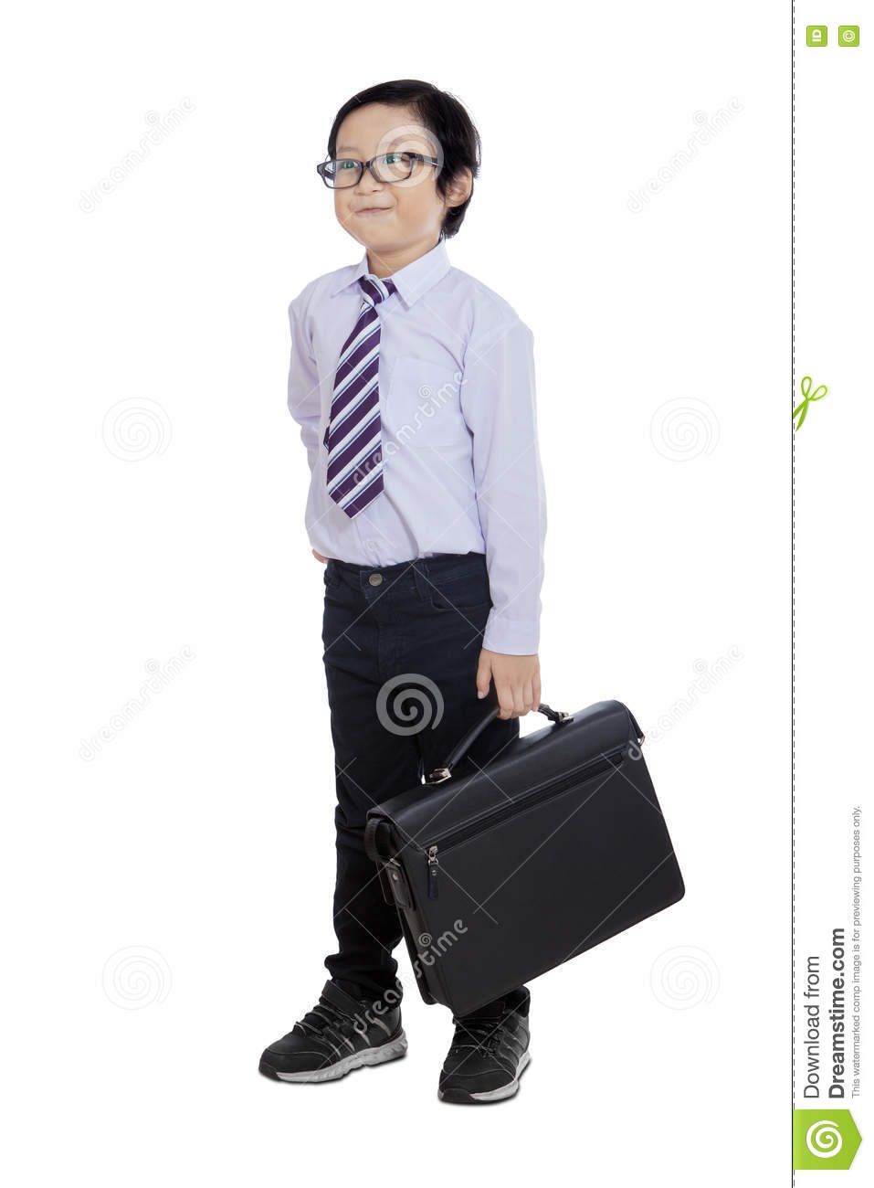 Little Entrepreneur Carrying Bag In Studio Stock Photo - Image 77462897