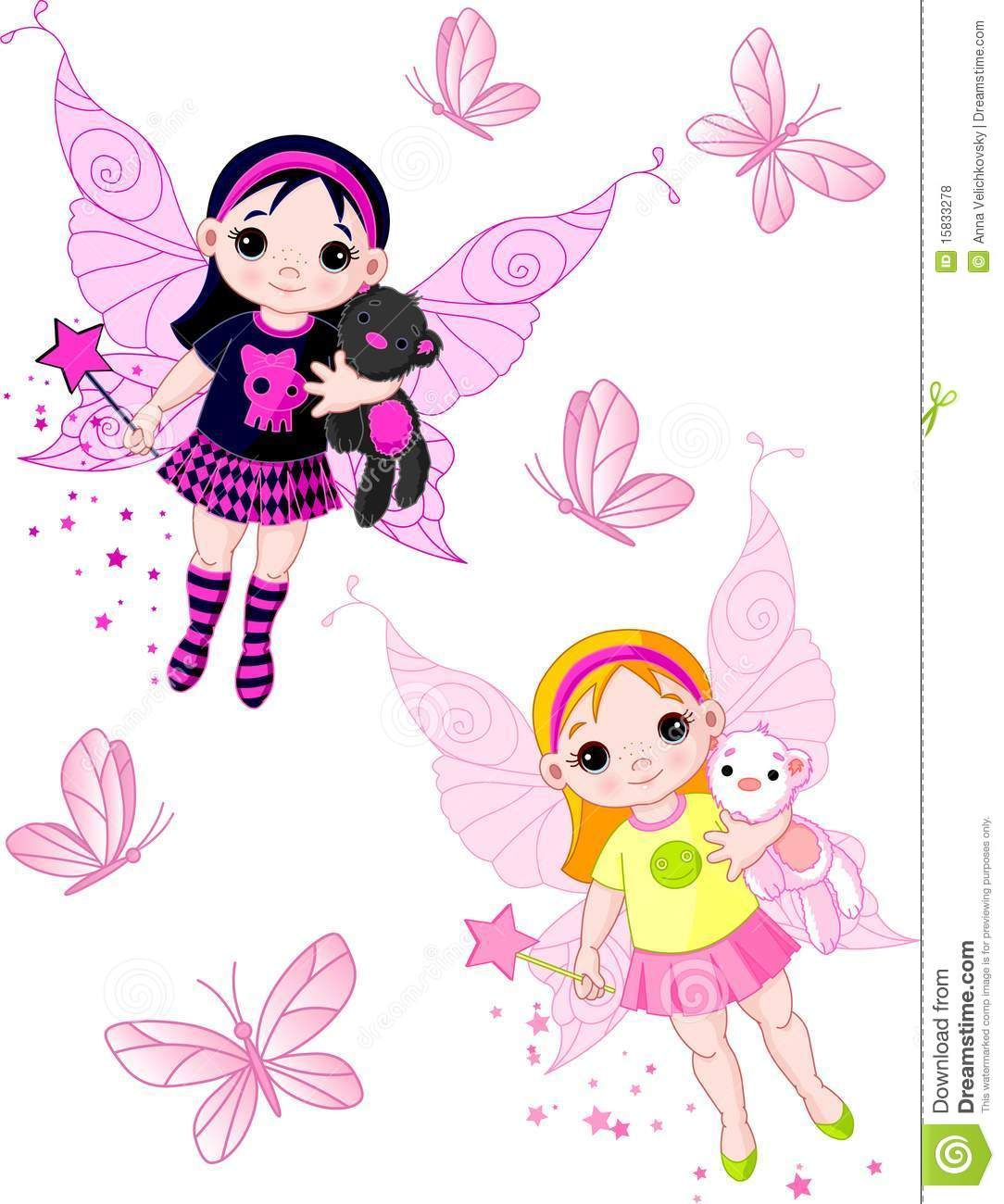 Little Fairies Flying With Butterflies Royalty Free Stock Photos ...