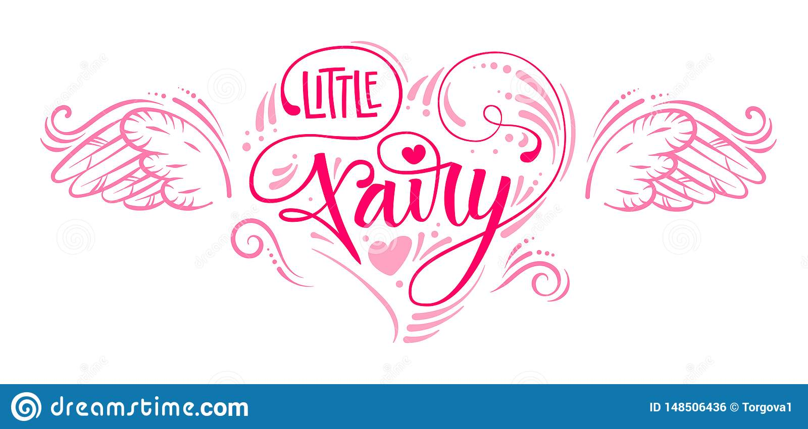 Little Fairy quote. Hand drawn modern calligraphy script stile lettering phrase in heart composition.