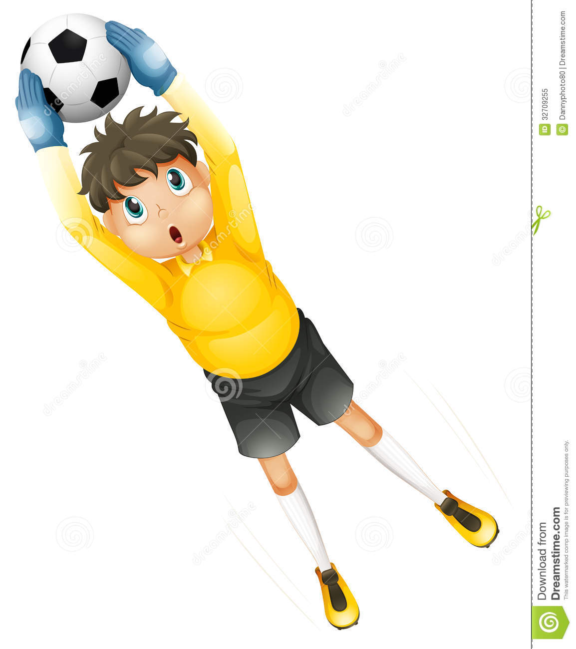 A Little Football Player Catching The Ball Stock Vector