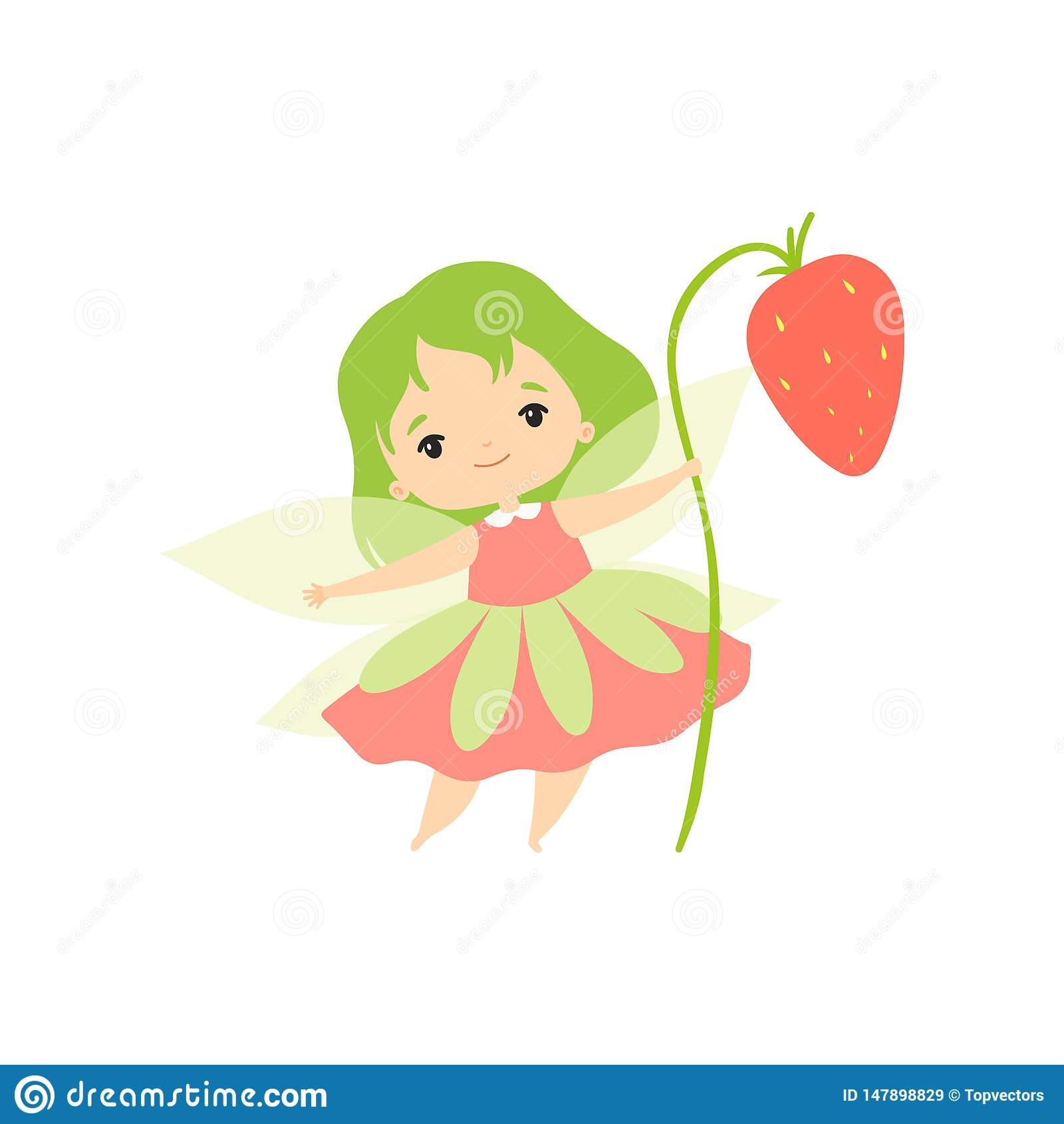 Little Forest Fairy with Wild Strawberry, Lovely Fairy Girl Cartoon Character with Green Hair and Wings Vector