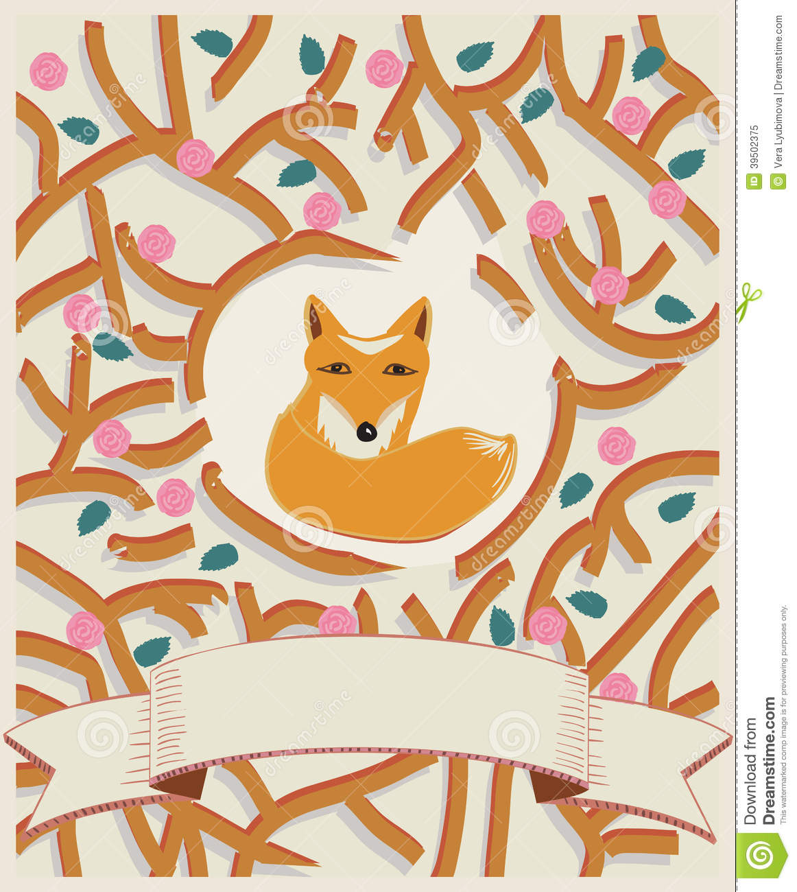 Little fox in a forest card design
