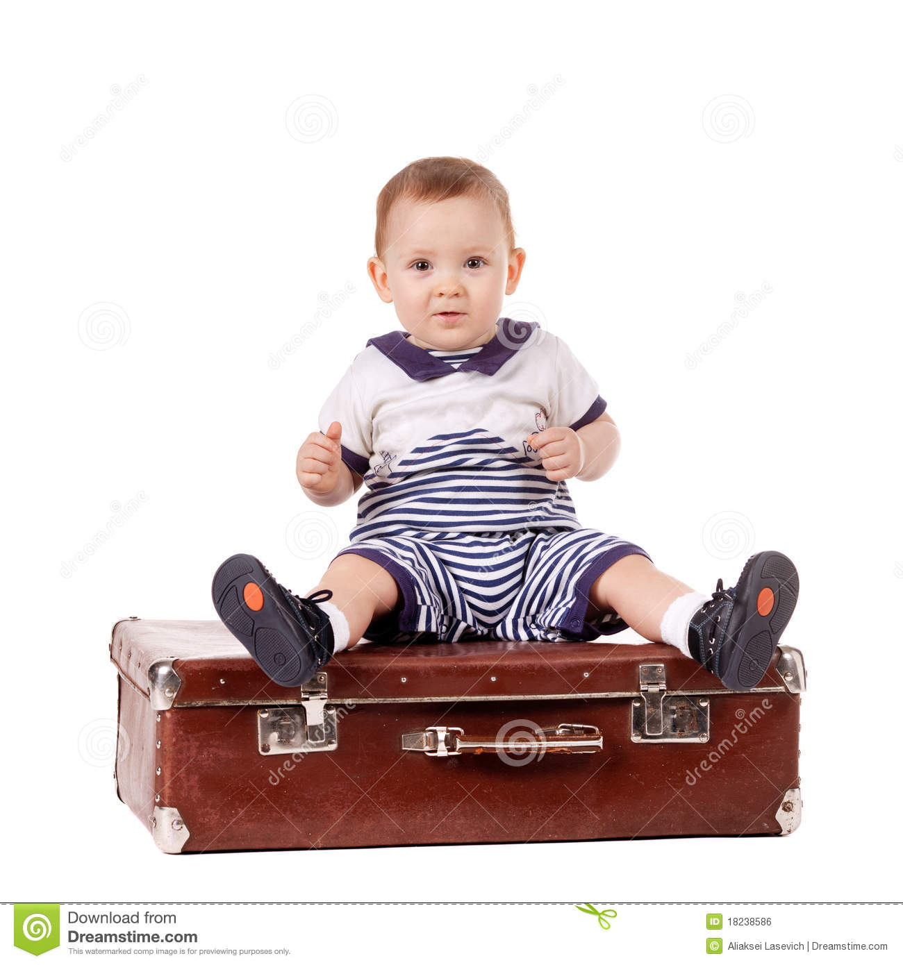 Little Funny Boy With Suitcase Royalty Free Stock Image