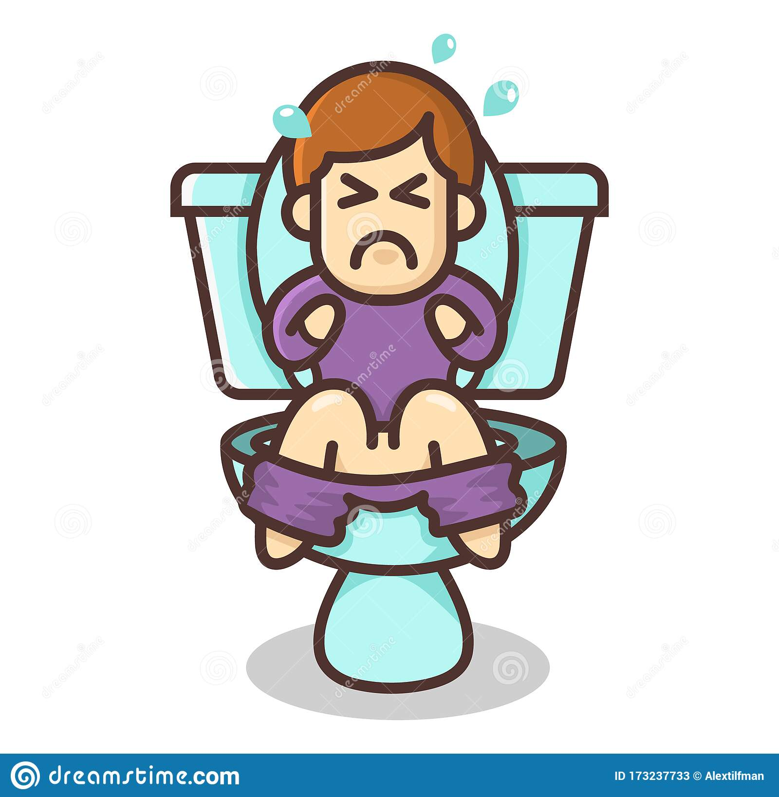 Little Funny Cartoon Boy Is Sitting On The Toilet With A Stomach Problem Children S Health Concept Constipation Problem Vector Stock Vector Illustration Of Flat Bathroom 173237733