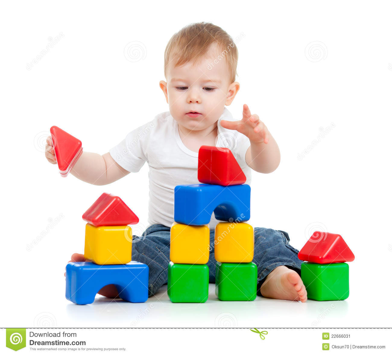Little Funny Child Playing With Building Blocks Stock Image Image 22666031
