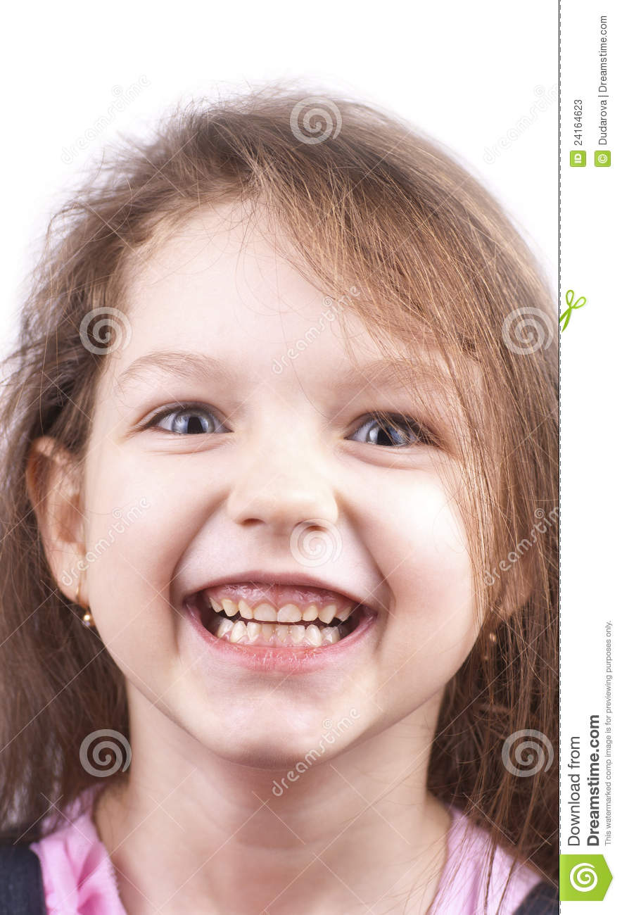 Little funny girl close up, isolated