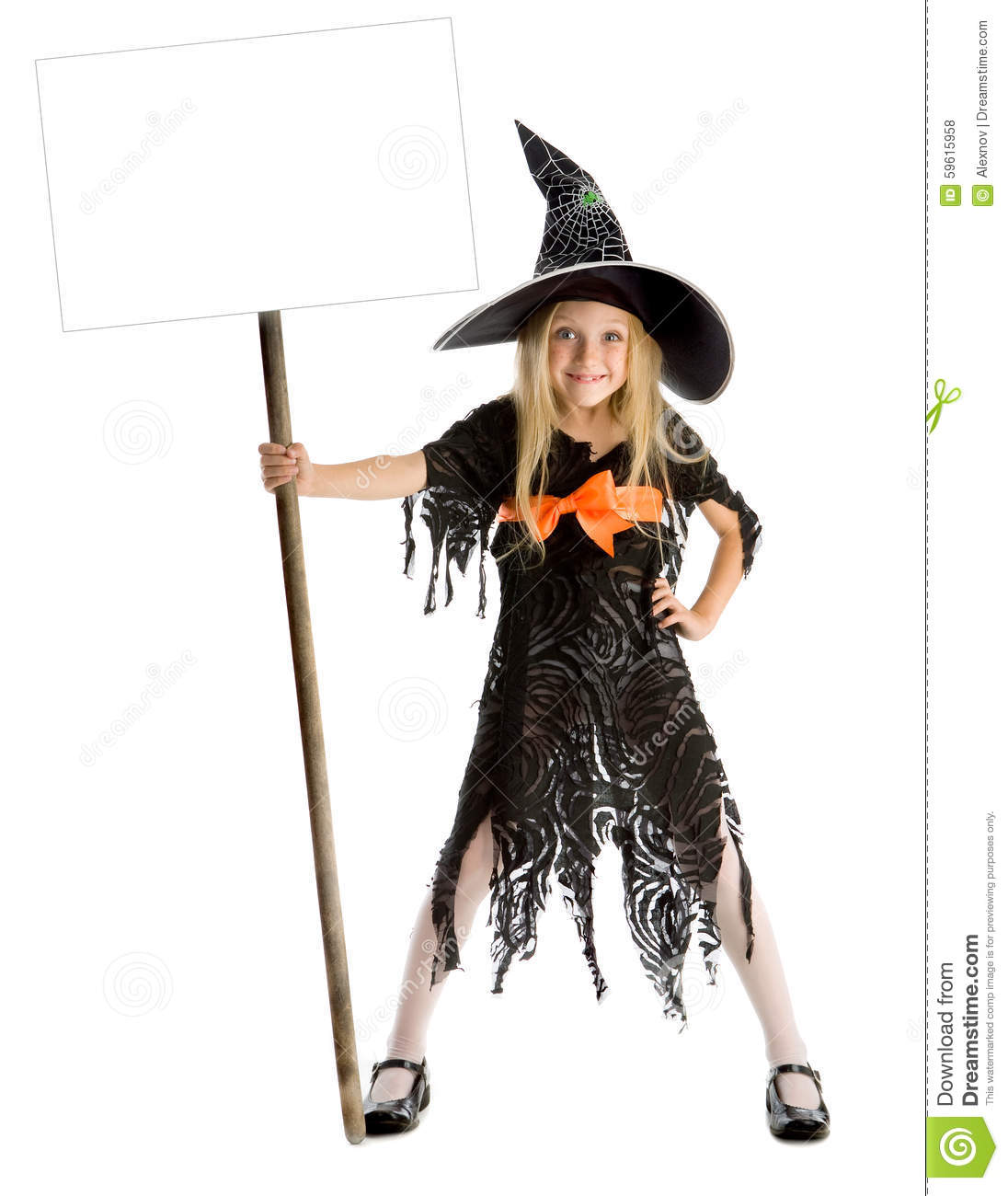 Little Funny Witch Holding A Sign Stock Photo - Image: 59615958