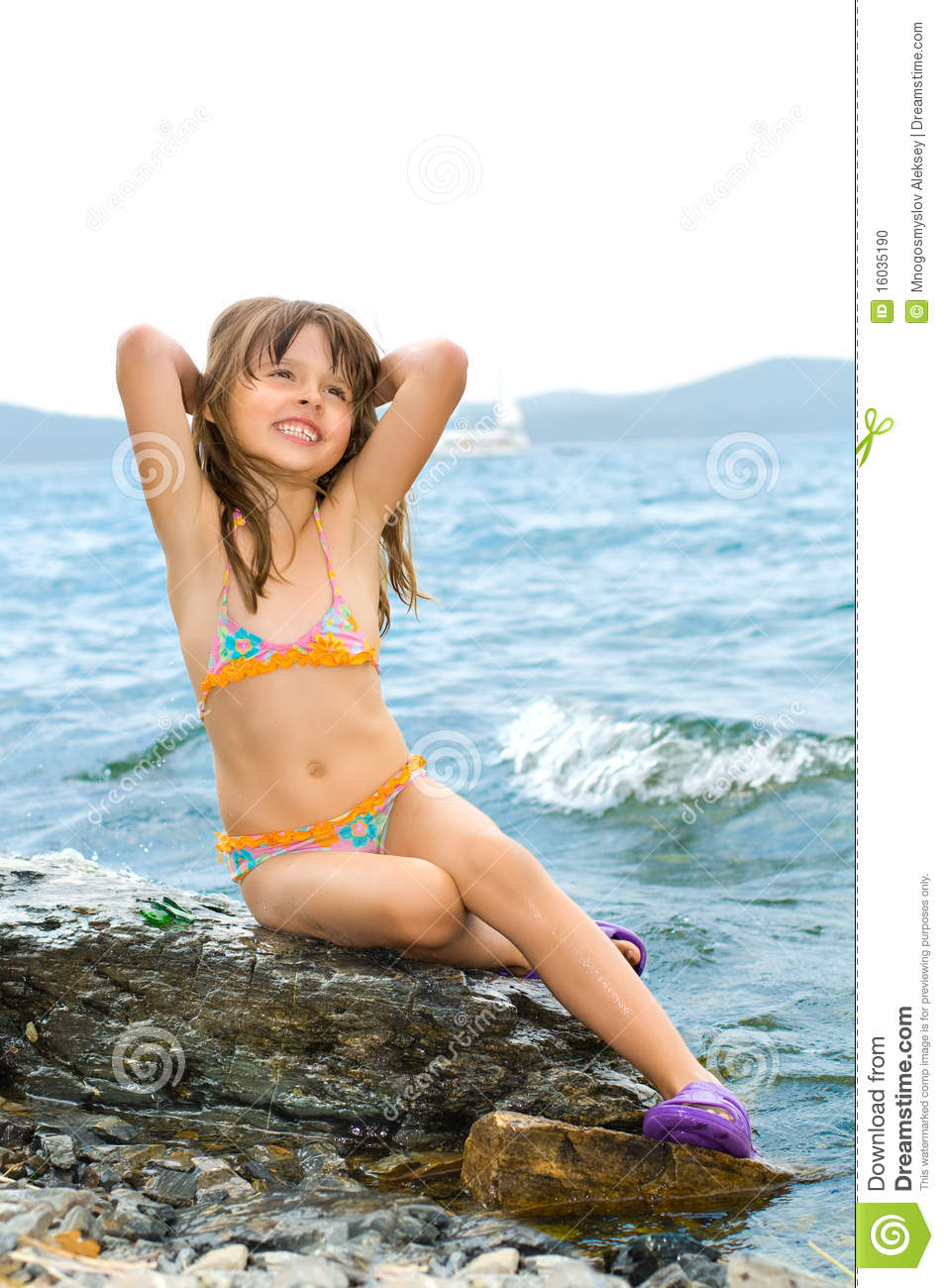Little Girls Nails And Girls On Pinterest: Little Girl Stock Photo. Image Of Rock, Nature, Lake