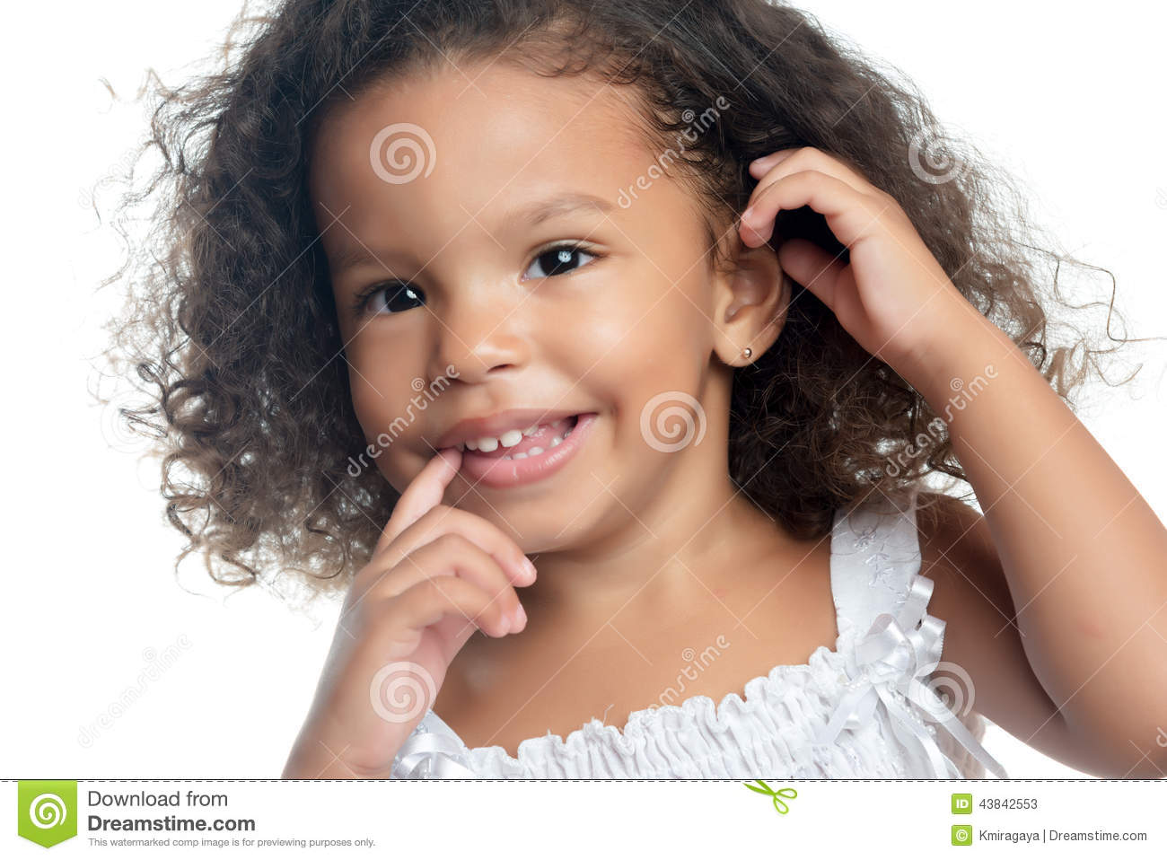 little girl with an afro hairstyle stock photo - image: 43842553