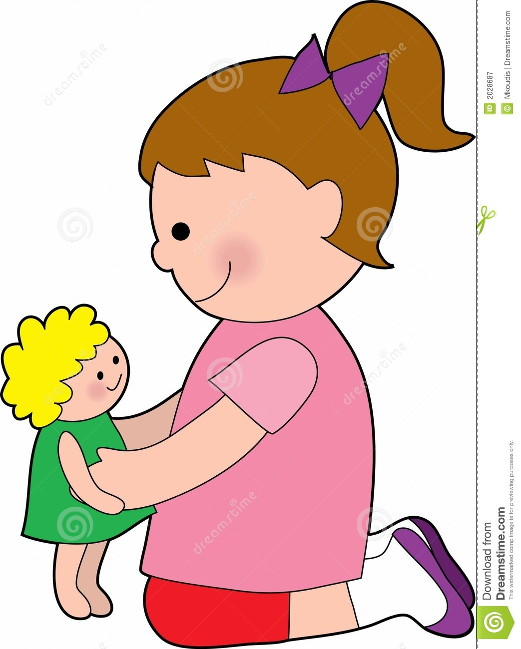 Little Girl With A Baby Doll Royalty Free Stock Photography - Image ...