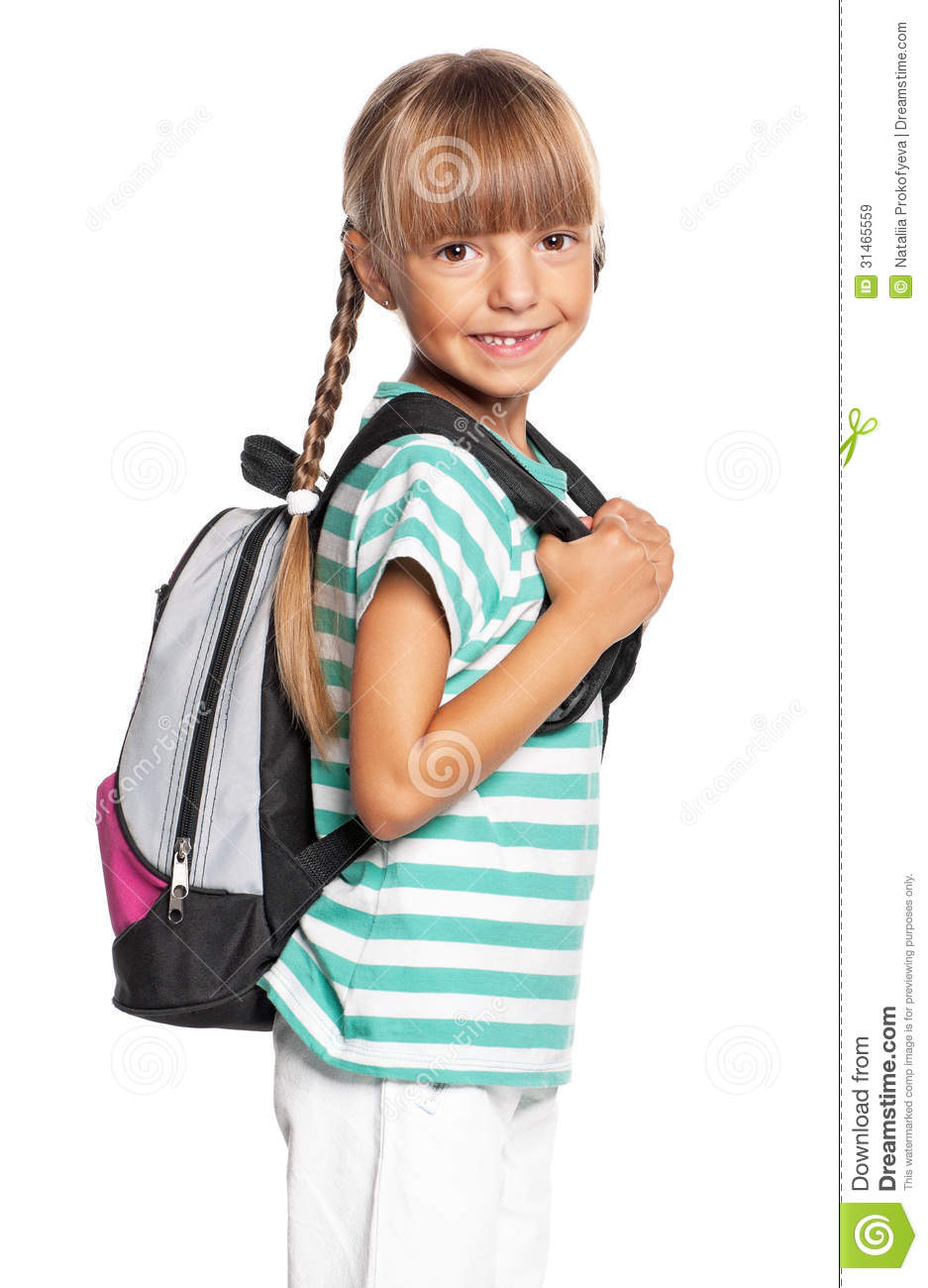 Little girl with backpack stock image. Image of homework ...