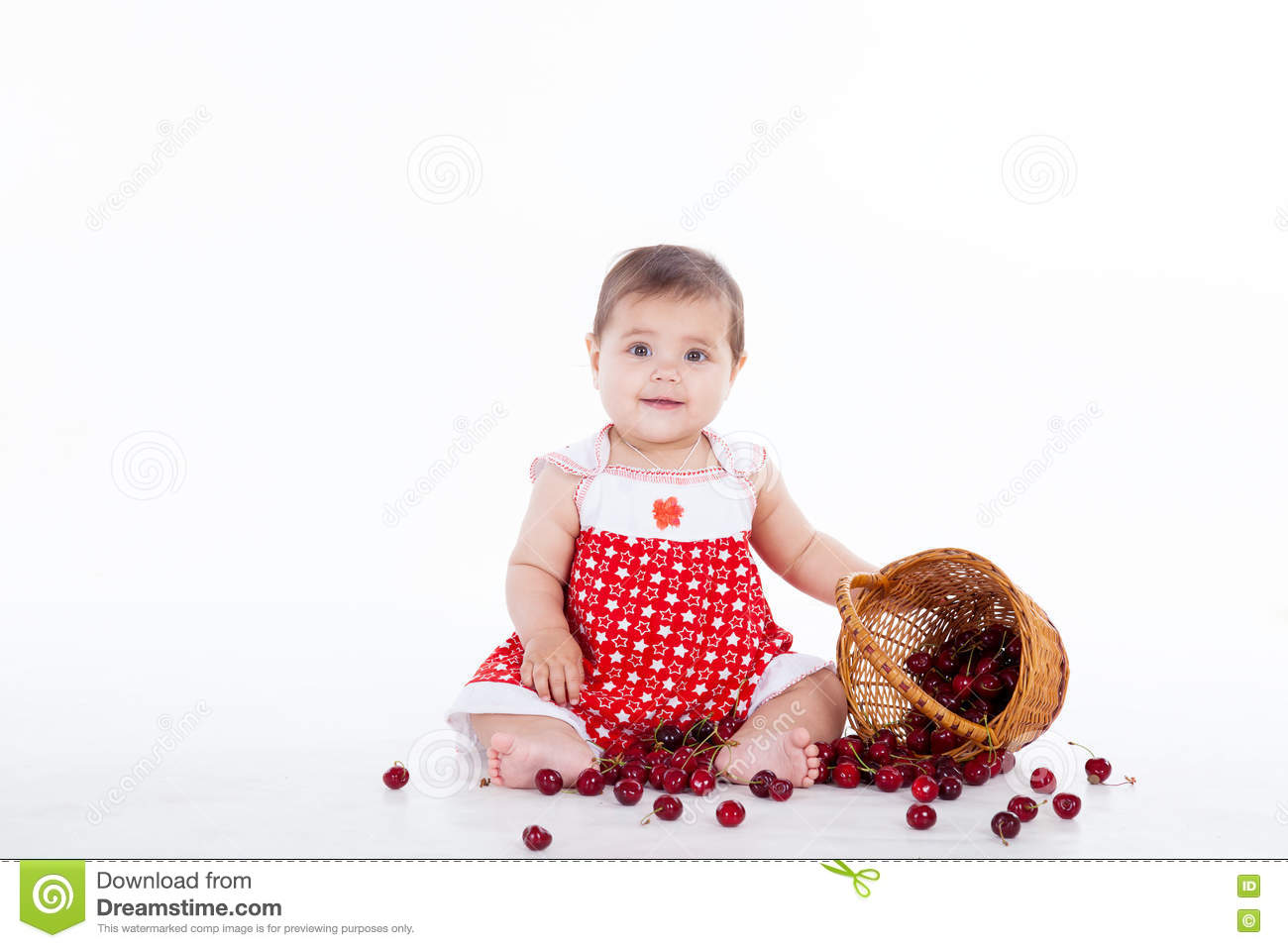 Little girl with a basket of cherries berries
