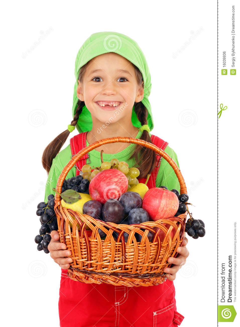 4 Day Diet Plans: Little Girl With Basket Of Fruits Stock Photo