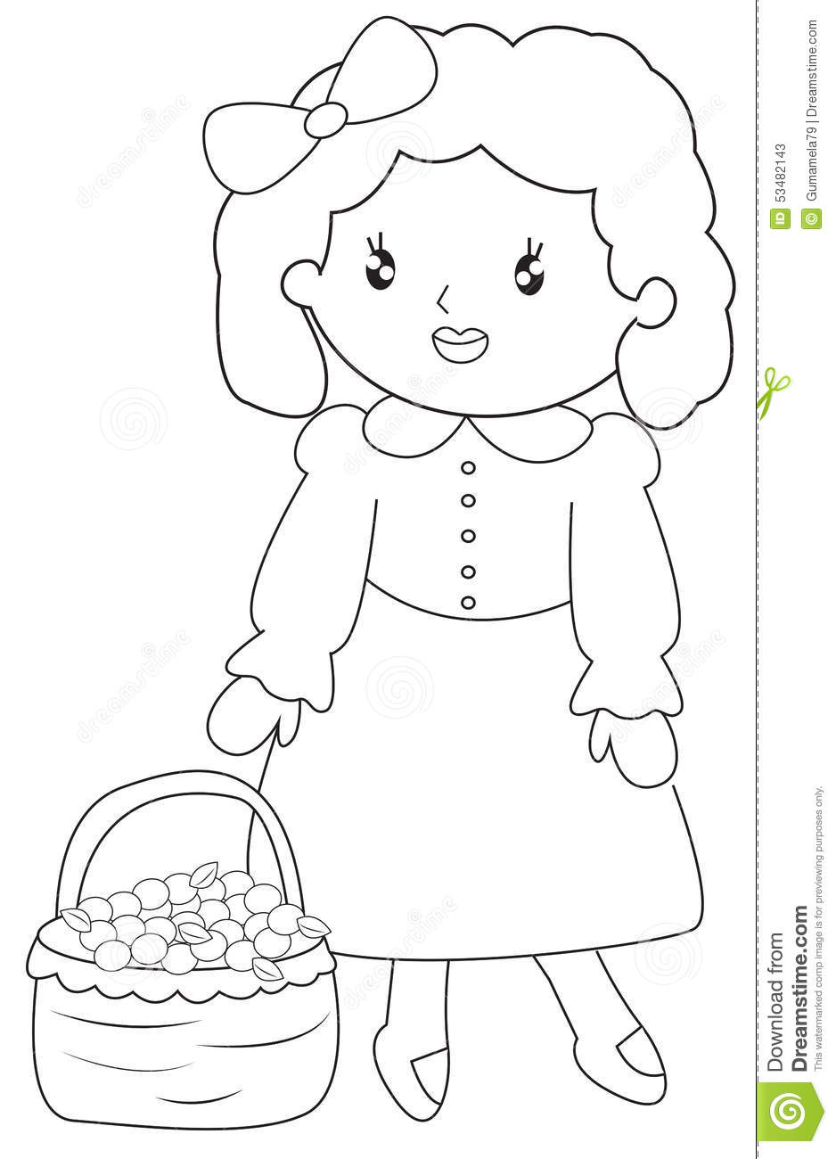 little with a basket of fruits coloring page stock