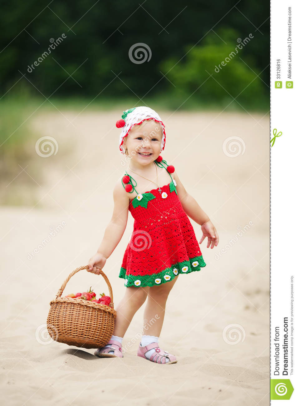 Girl With The Blog: Little Girl With Basket Full Of Strawberries Stock Photo