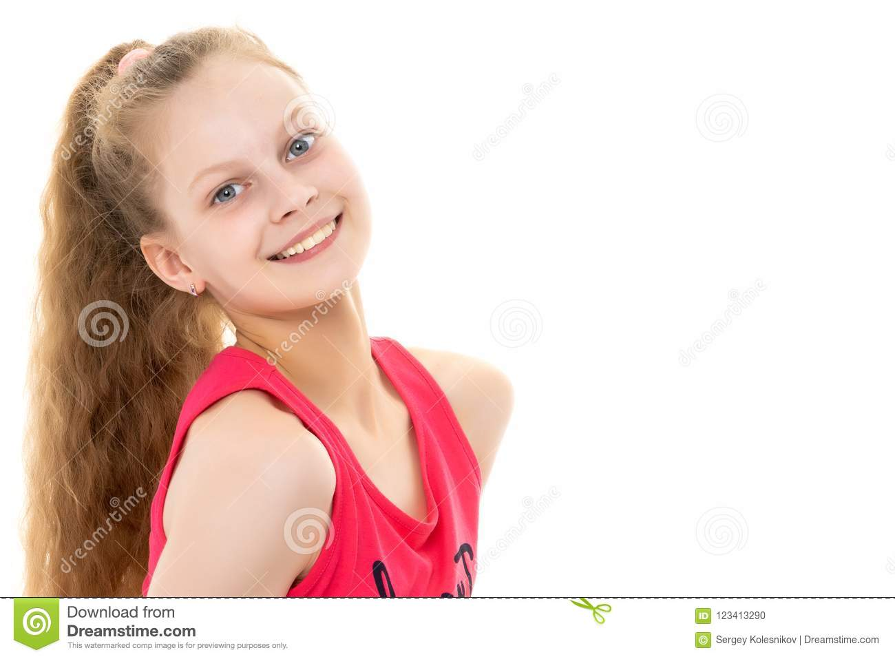 693960e6b7c6 A Little Girl In A Bathing Suit Lies. Stock Photo - Image of person ...