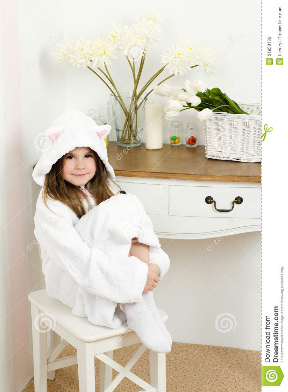 Little Girl In A Bathrobe With Ears Stock Photo Image Of