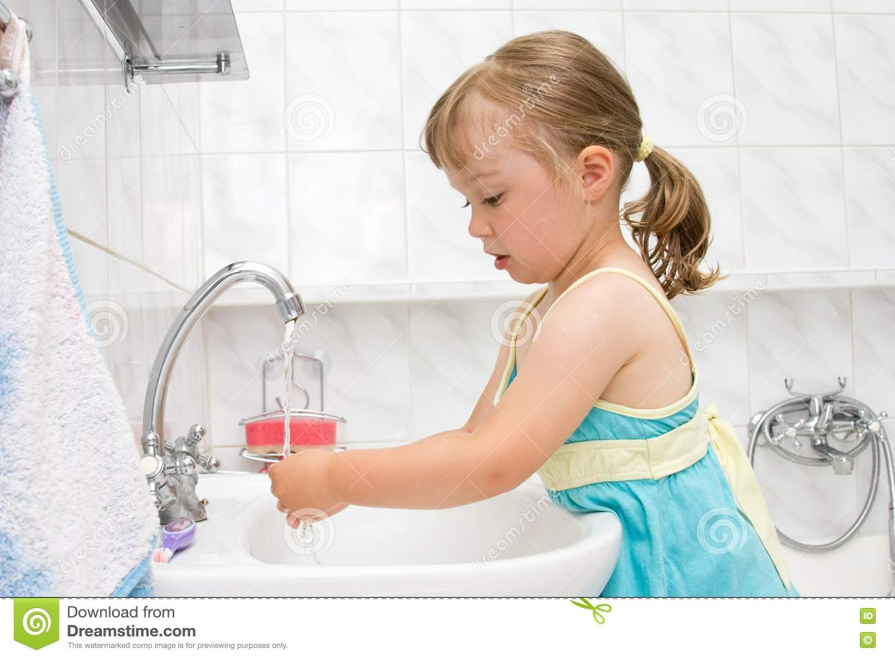 Little Girl Bathroom Little Girl In Bathroom Stock Image Image 15139351