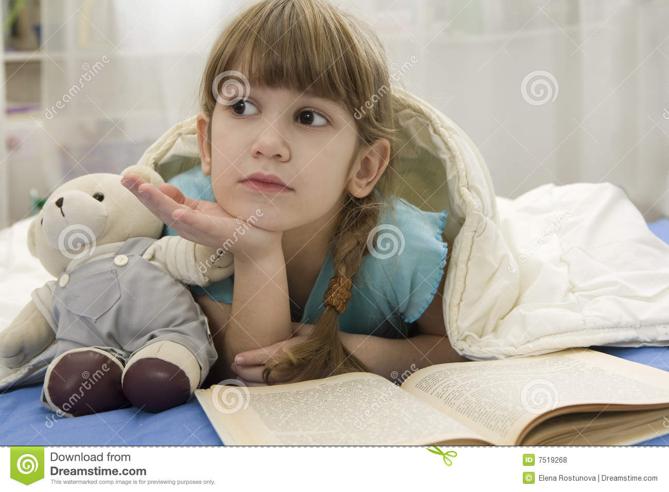 Little Girl With Bear On Sofa Stock Photo Image Of