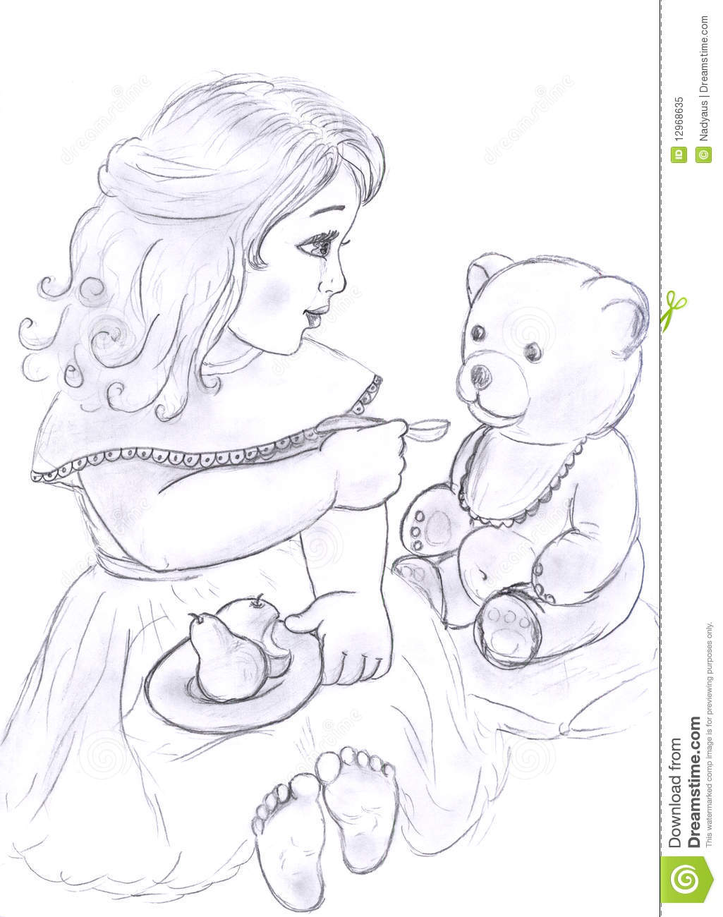 Little girl with bear toy sketch stock illustration illustration