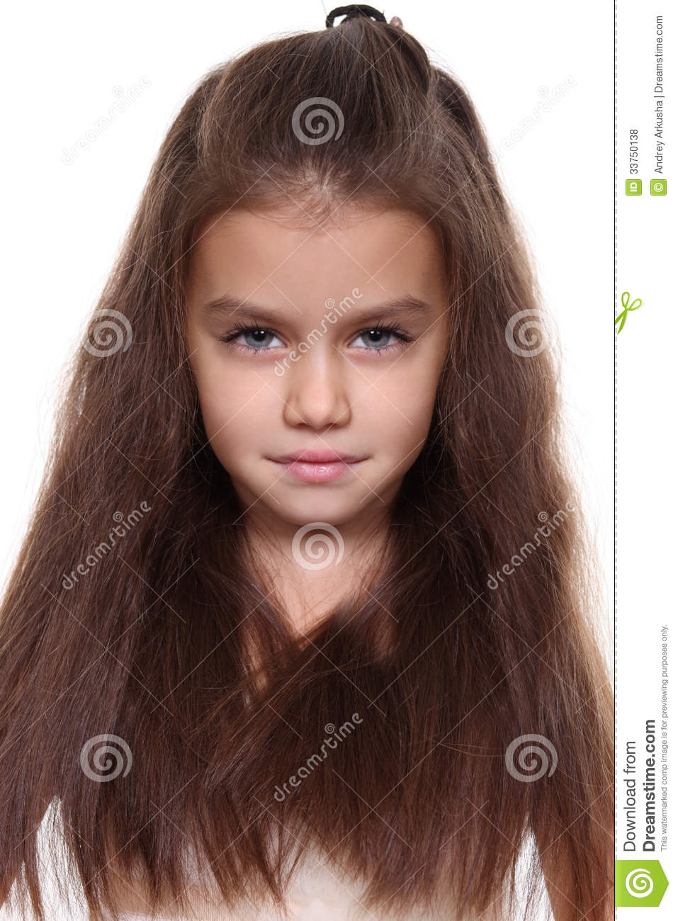 Little Girl With Beautiful Hair Stock Photo