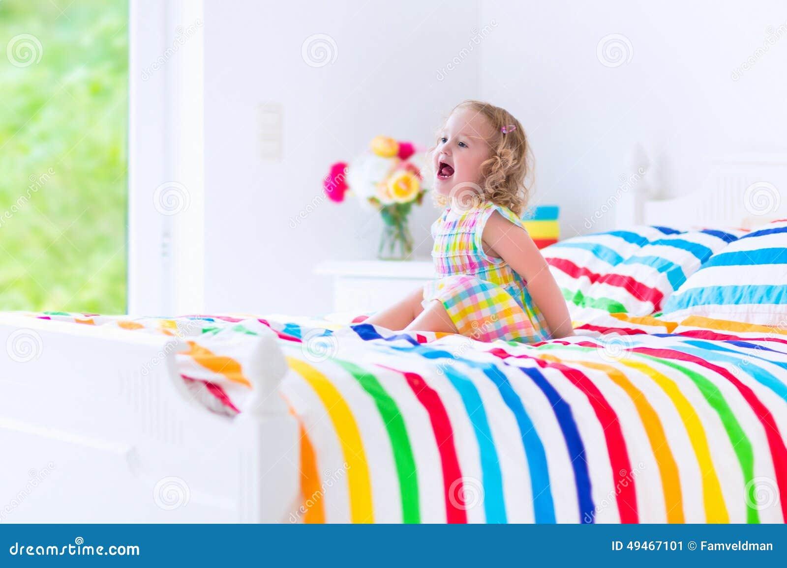little girl in bed stock image image of active home 49467101. Black Bedroom Furniture Sets. Home Design Ideas
