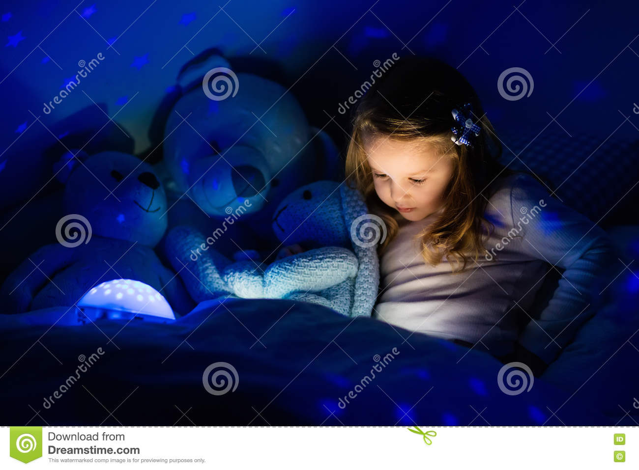 Little Girl In Bed With Night Lamp Stock Image - Image of book ... for Little Girl With Lamp  56bof
