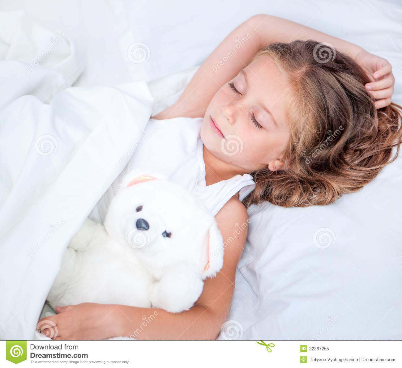 Little Girl Sleeping With A Toy Bunny Stock Photo | Getty Images