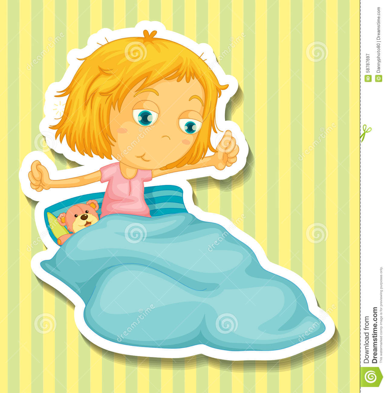 little girl in bed waking up stock vector image 58787697 picture of a girl waking up clipart Awake Clip Art