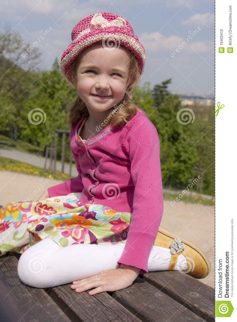 Little Girl On The Bench Stock Photo Image Of Little