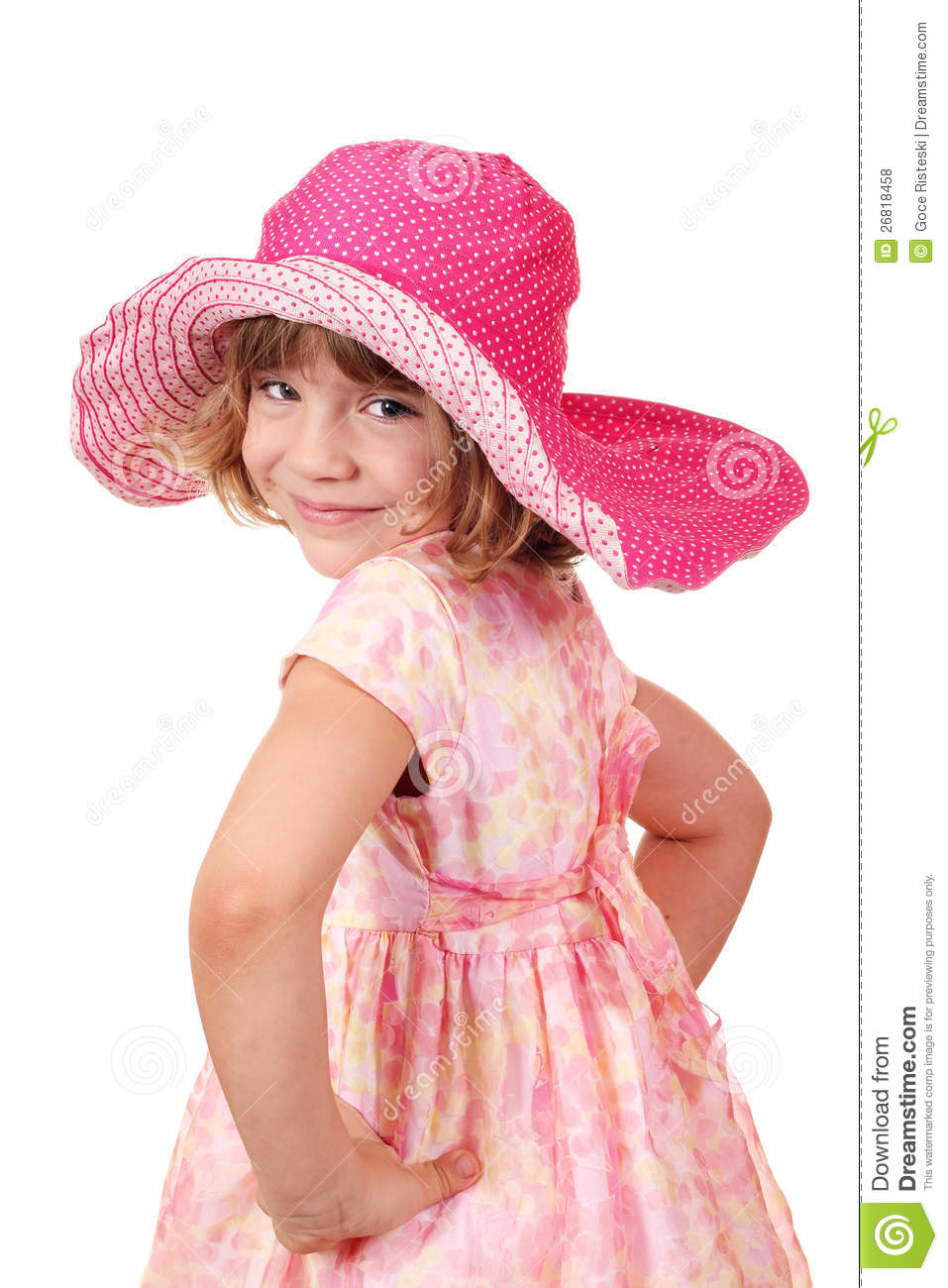 Little Girl With Big Hat Royalty Free Stock Photos