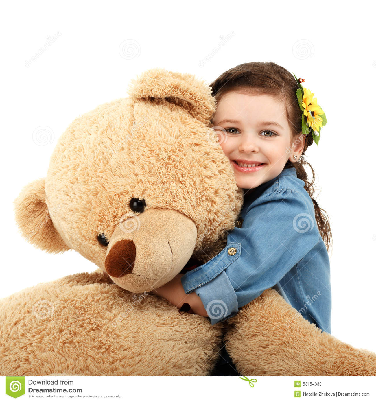 Little Girl With Big Teddy Bear Having Fun Laughing Stock ...Little Girl With Teddy Bear Black And White