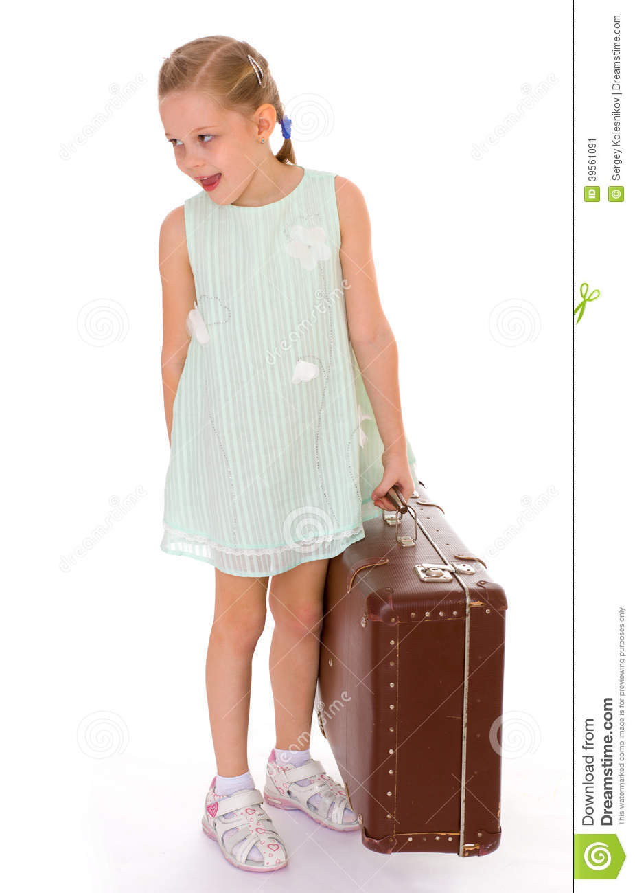 Little Girl With A Big And Very Old Suitcase. Stock Photo ...