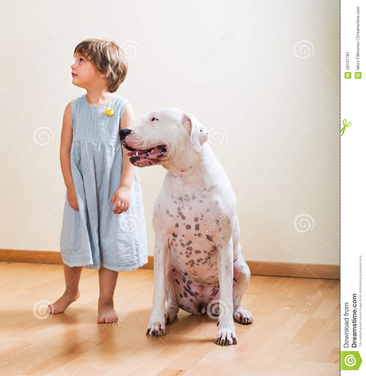 Little girl with big white dog