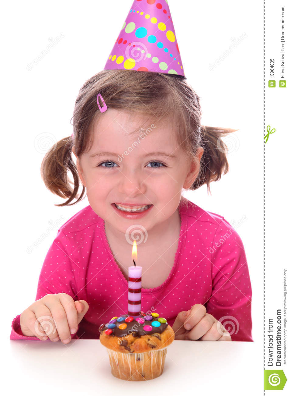 Little Girl With Birthday Cake Royalty Free Stock Photo ...