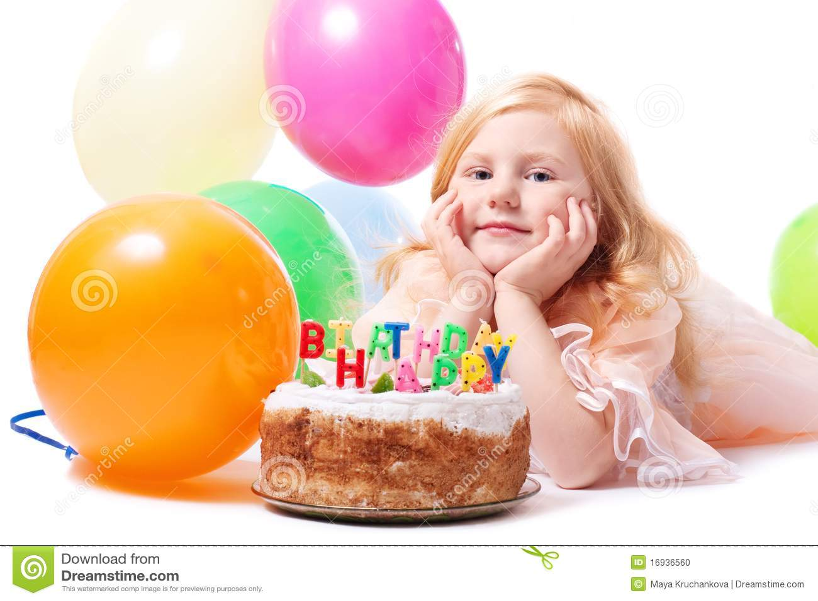 Little girl with birthday cake