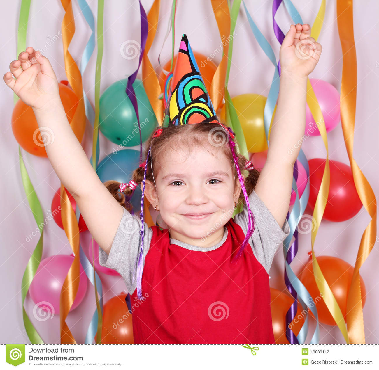 Little Girl Birthday Party Stock Photo. Image Of Happy