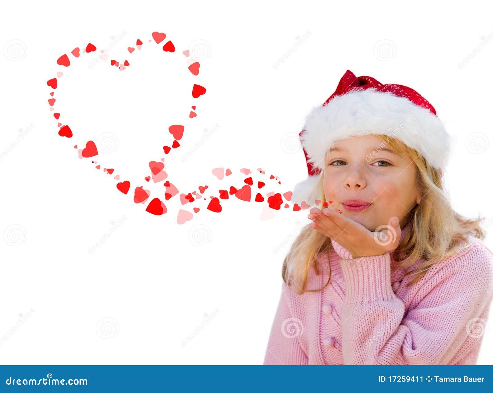 Little Girl Blowing Love Heart Kisses