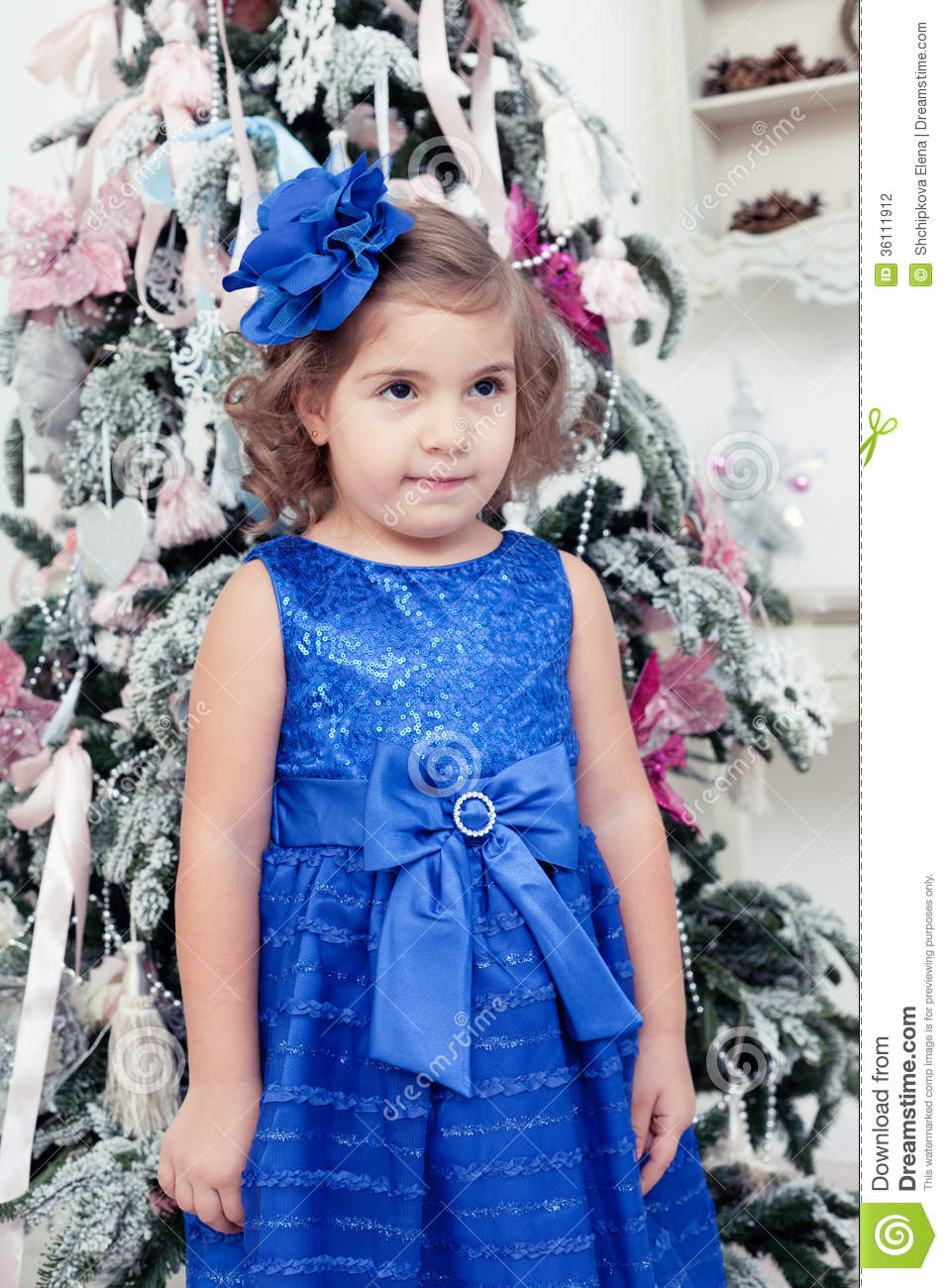 73821ceb0 Little Girl In A Blue Dress Near Stock Photo - Image of festive ...
