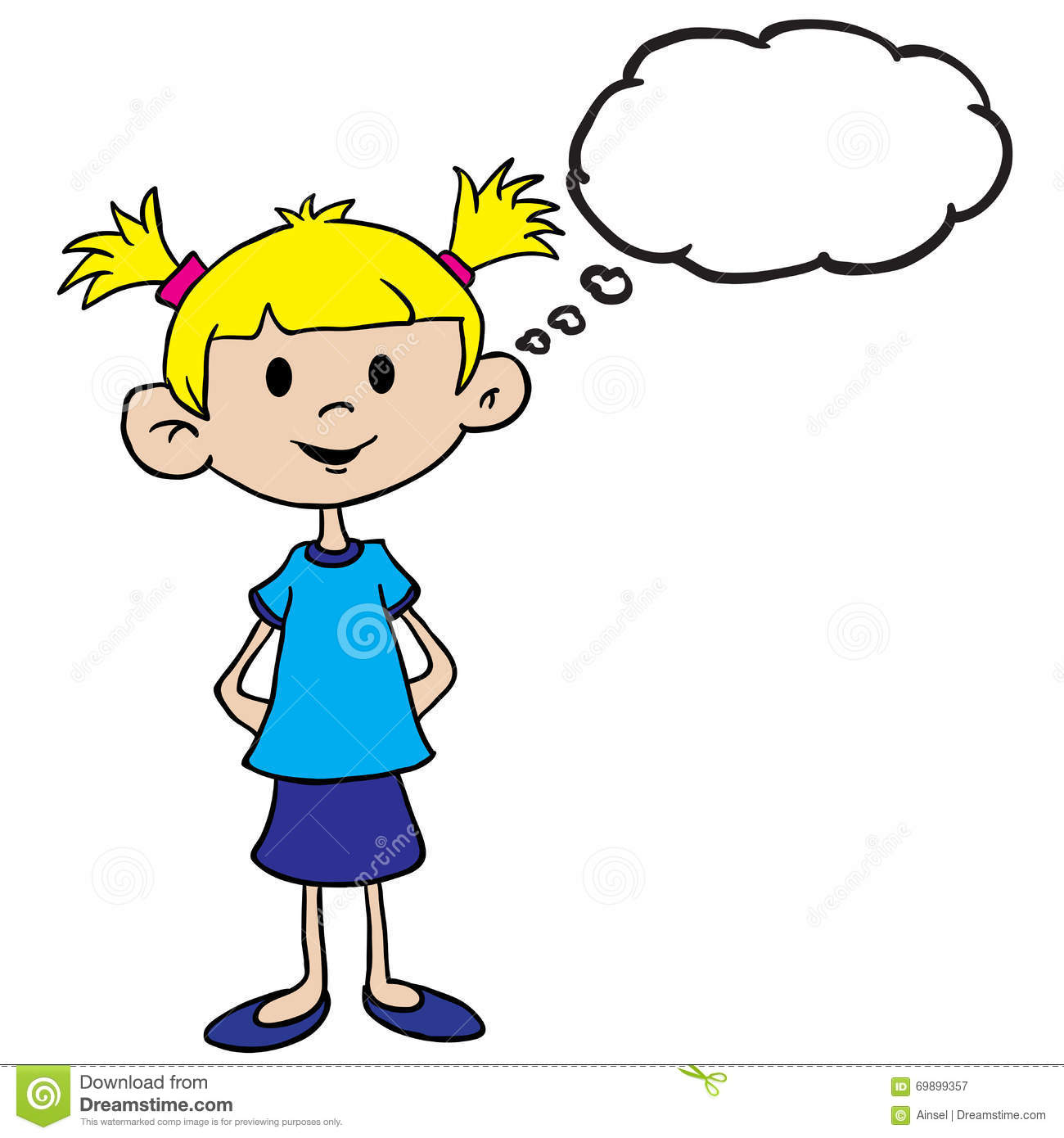 Little Girl In Blue Dress With Thought Bubble Stock ...