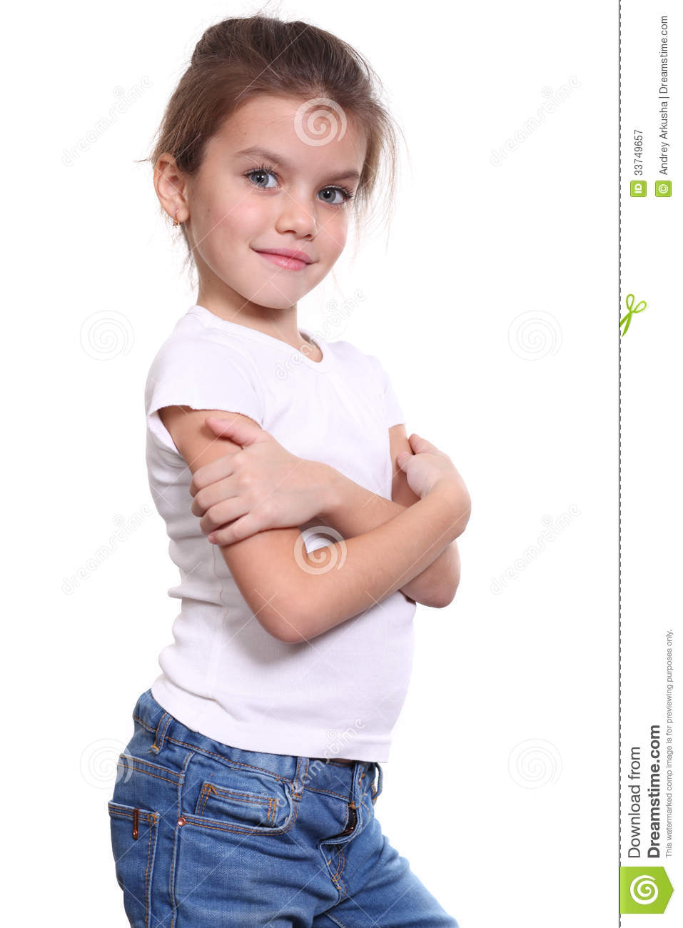 little girl in blue jean royalty free stock photography