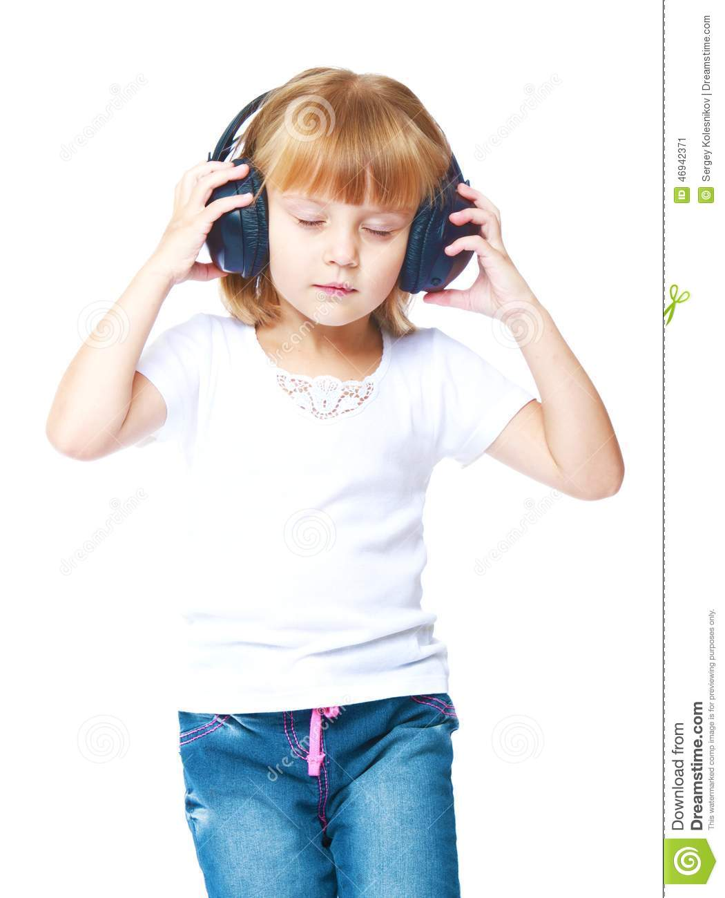 little girl in blue jeans stock image image of audio