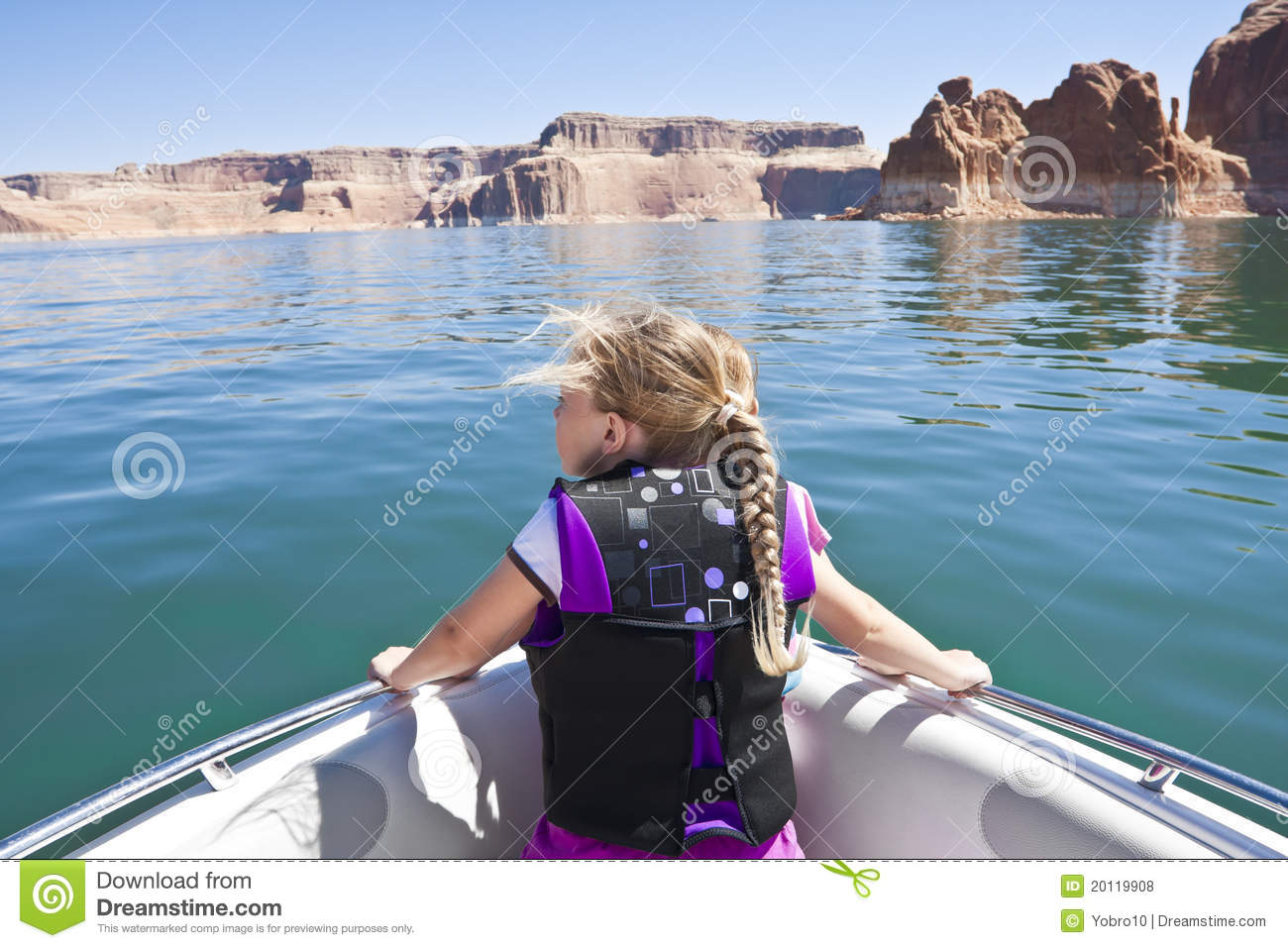 Little Girl On A Boat Ride At Lake Powell Royalty Free ...