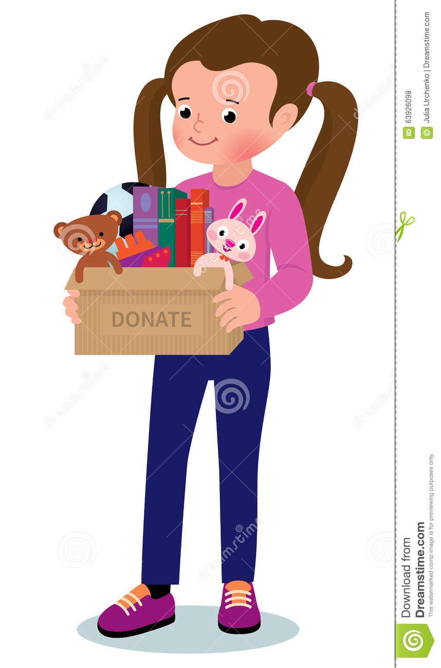 little girl with a box of donations stock vector illustration of assistance childhood 63926098. Black Bedroom Furniture Sets. Home Design Ideas