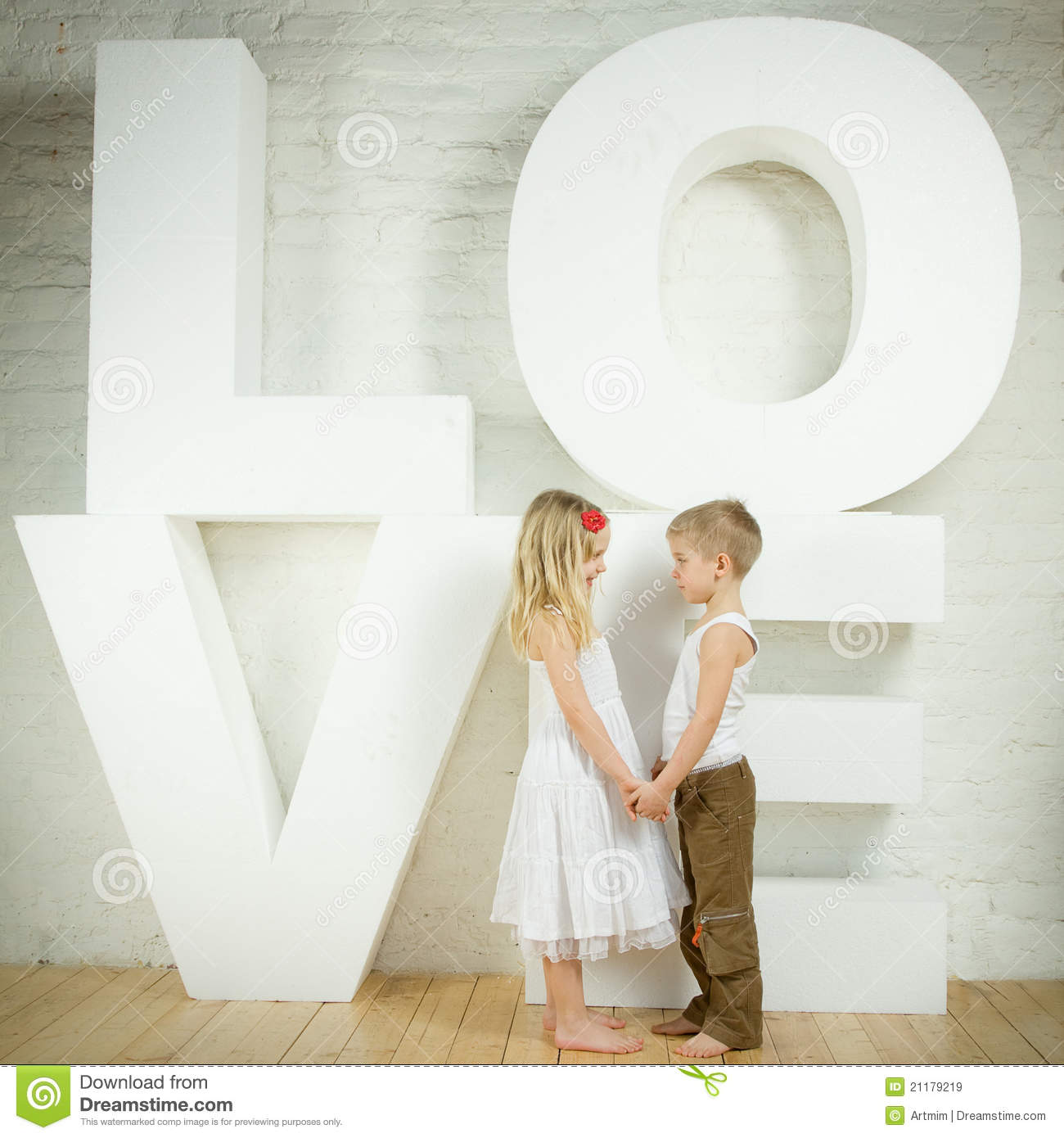 Little girl and boy - love