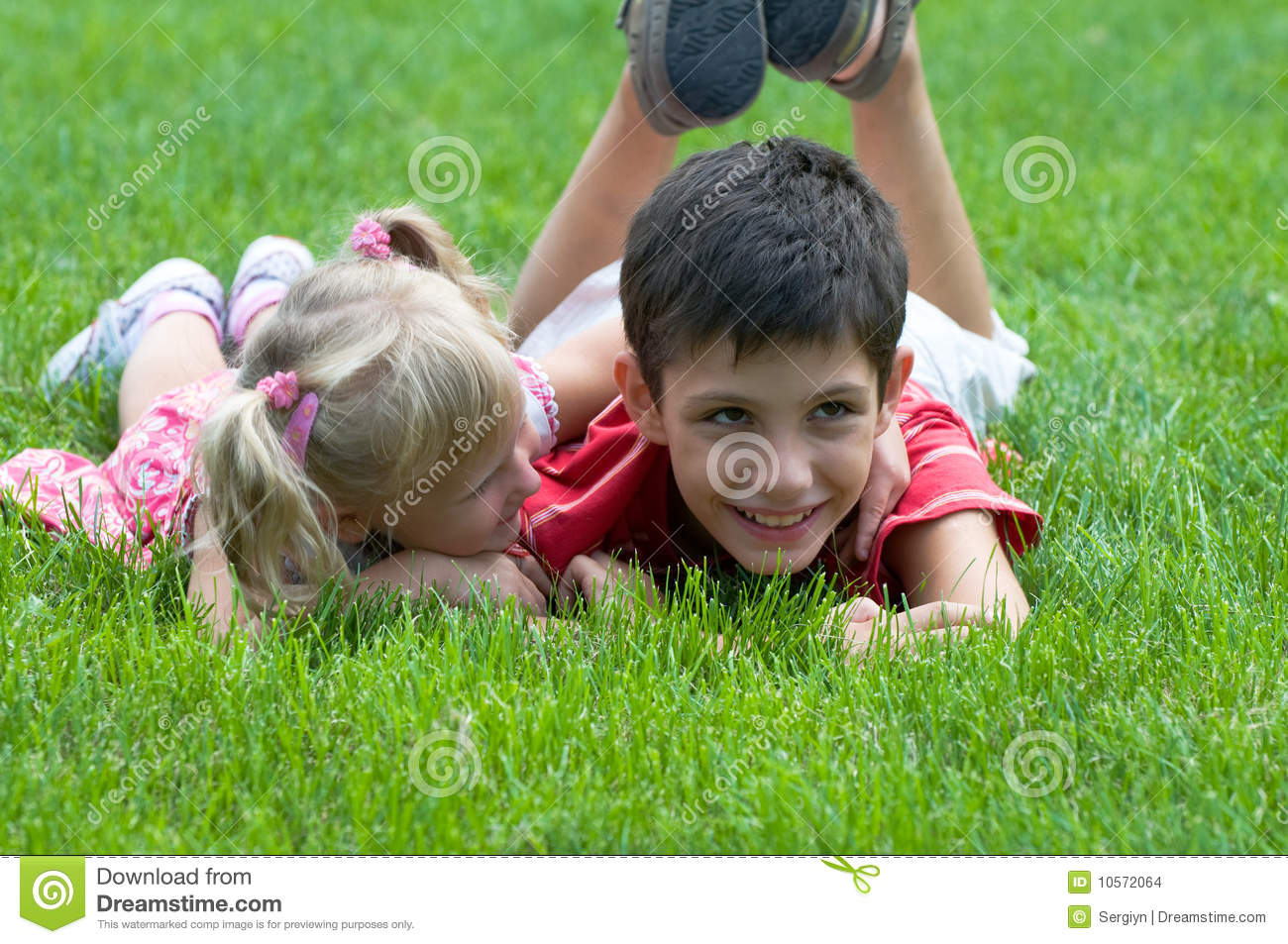 Little girl and boy at the park