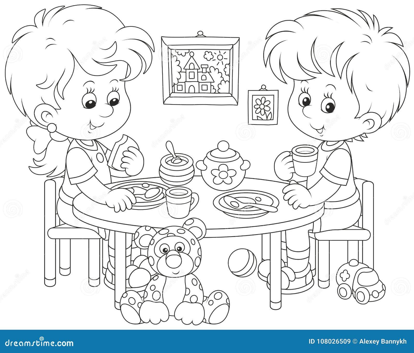 Children at breakfast stock vector. Illustration of book ...