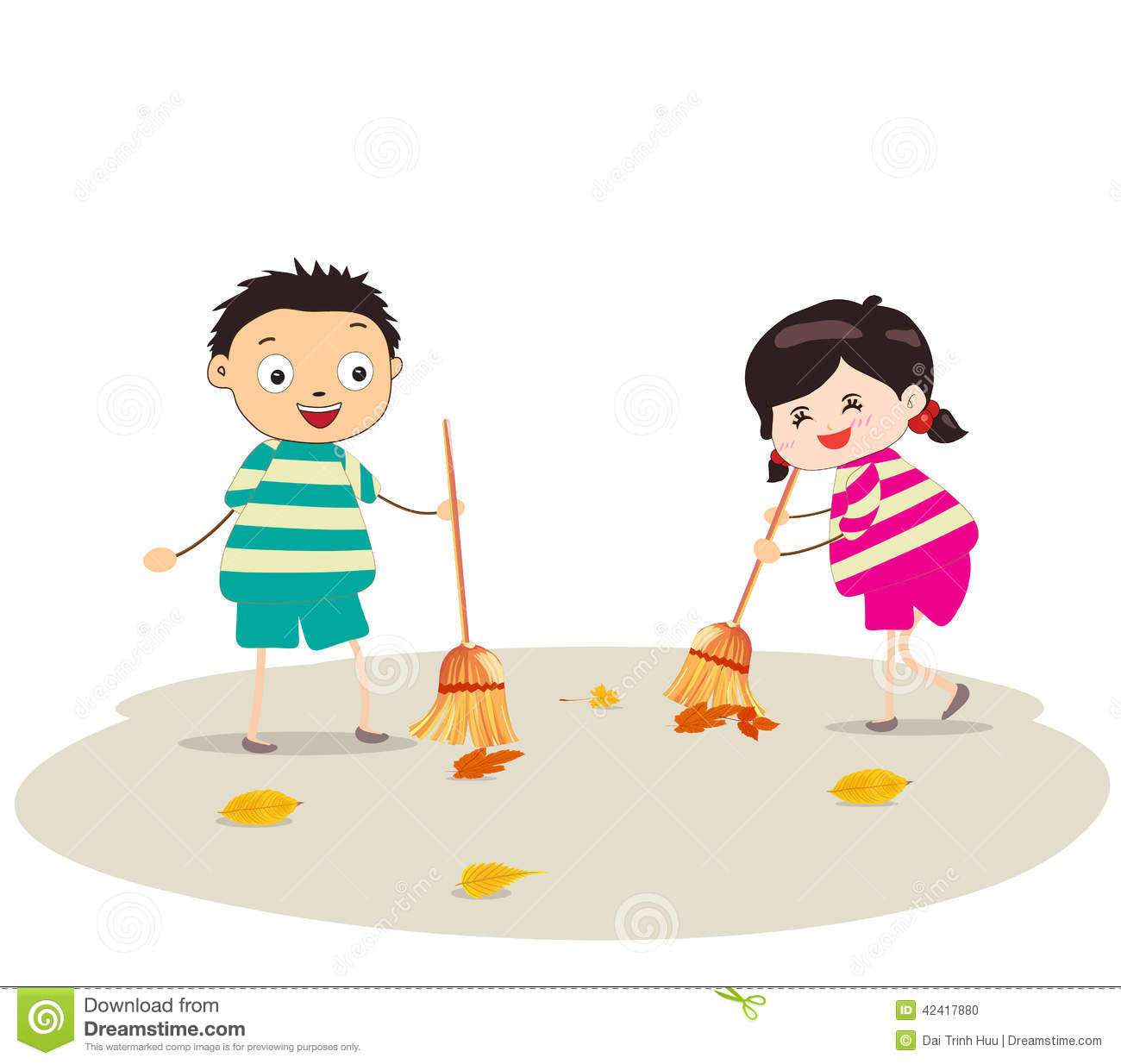 Little Girl And Boy Sweeping Stock Vector Image 42417880