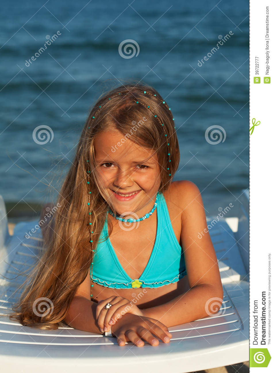 Little Girl In Bright Sunshine At The Seaside Stock Photo Image 39722777